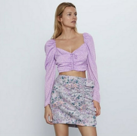 Zara jacquard ruffle mini skirt